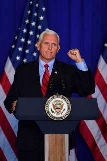 Pence Mike Moore | The Journal Gazette Vice President Mike Pence speaking at a rally in Fort Wayne, Indiana on Thursday.