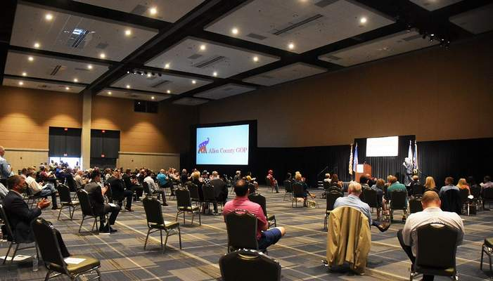 FILEAllen County delegates caucus at Grand Wayne Center to watch the broadcast of the Indiana Republican Party's virtual state convention in June.