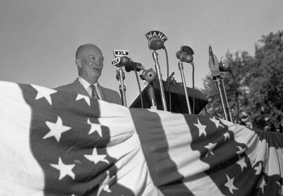 Eisenhower spoke about 15 minutes to nearly 5,000 people during his stop in Fort Wayne. He went on to win two terms as president.