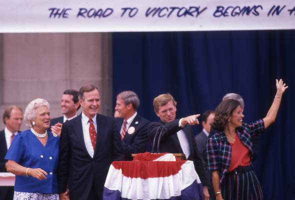 Vice President George H.W. Bush and his wife, Barbara,  visited running mate Sen. Dan Quayle's hometown of Huntington on Aug. 19, 1988.