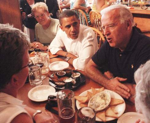 U.S. Sens. Barack Obama and Joe Biden made a stop at Pier 32 restaurant in Hamilton on Aug. 31, 2008. The future president and vice president spent about 45 minutes with local residents.