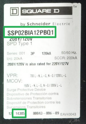 Example of label on recalled Schneider Electric Surgeloc Surge Protection Device with the location of the catalog number and date code.