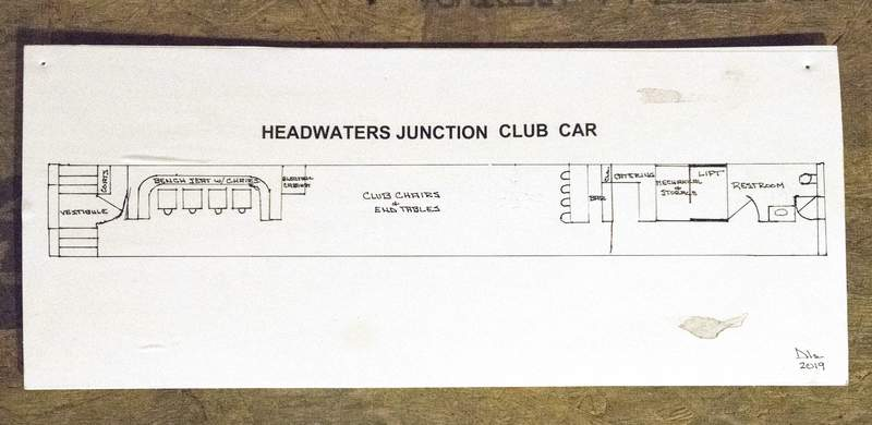 Michelle Davies | The Journal Gazette The floor plan for a train club car, which was a hospital train car, that will be placed in Headwaters Junction.