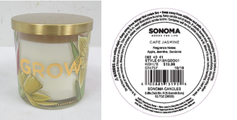 Recalled Kohl's Grow Candle