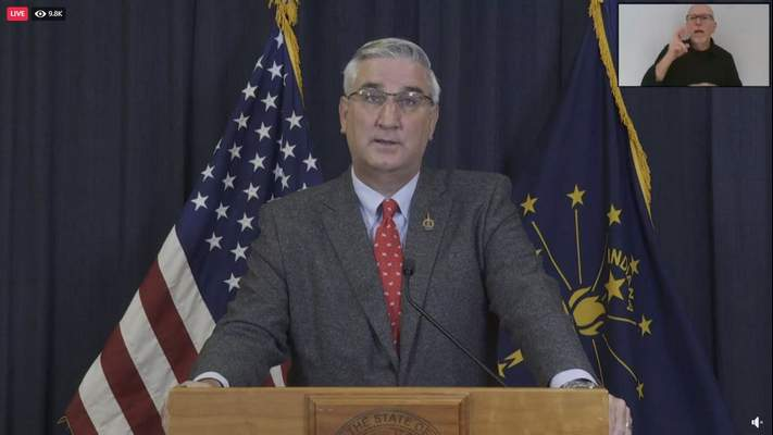 Governor Eric Holcomb announces new rules for Indiana counties in orange or red, according to case and positivity metrics today.