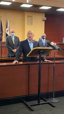 Michelle Davies | The Journal Gazette: Allen County Health Commissioner Matthew Sutter addresses the media Tuesday morning on COVID-19 at Citizens Square.