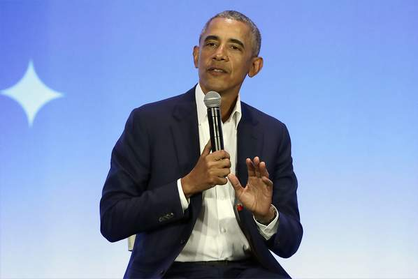 FILE - This Feb. 19, 2019, file photo shows former President Barack Obama speaking at the My Brother's Keeper Alliance Summit in Oakland, Calif. (AP Photo/Jeff Chiu, File)