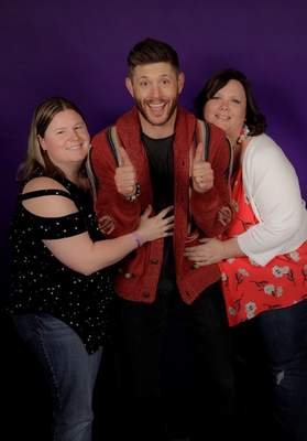 """Courtesy Niki Kelly, right, and friend JanelleBiddenstadt pose with """"Supernatural"""" starJensen Ackles at a fan convention in Chicago."""