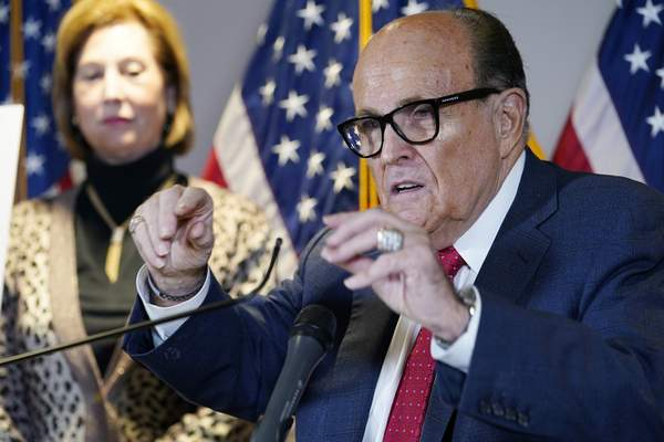 Associated Press Rudy Giuliani speaks during a news conference Thursday at Republican National Committee headquarters in Washington.