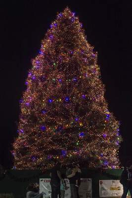 The Christmas tree on the Broadway Plaza was lit Friday evening.