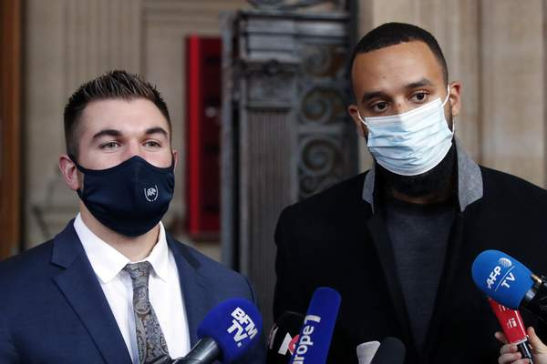 Associated Press Americans Alek Skarlatos, left, and Anthony Sadler deliver a speech during the trial of the man they disarmed aboard a train to Paris in 2015.