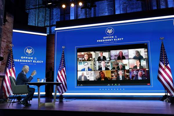 In this Nov. 17, 2020, file photo President-elect Joe Biden attends a national security briefing at The Queen theater in Wilmington, Del. (AP Photo/Andrew Harnik, File)