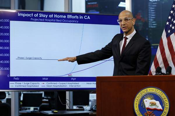 In this April 1, 2020, file photo Dr. Mark Ghaly, secretary of the California Health and Human Services, gestures to a chart showing the impact of the mandatory stay-at-home orders during a news conference ,at the Governor's Office of Emergency Services in Rancho Cordova, Calif. (AP Photo/Rich Pedroncelli, Pool, File)