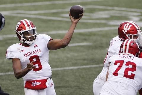 Indiana Ohio St Football Associated Press  Indiana quarterback Michael Penix throws a pass against Ohio State during the second half of an NCAA college football game Saturday, Nov. 21, 2020, in Columbus, Ohio. Ohio State beat Indiana 42-35. (AP Photo/Jay LaPrete) (Jay LaPrete FRE)