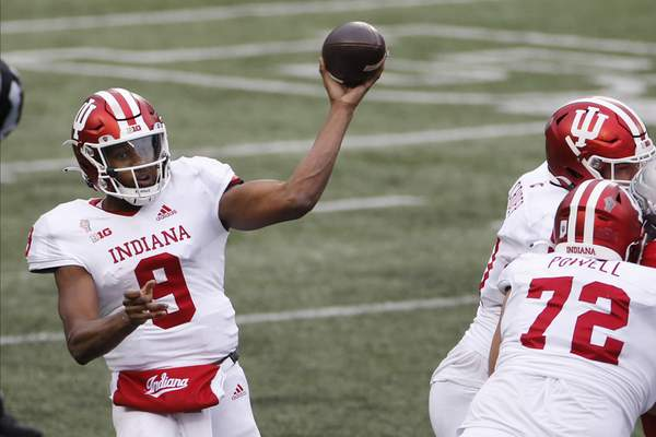 Associated Press Indiana quarterback Michael Penix Jr. throws a pass against Ohio State during the second half  Saturday. Penix finished with five TD passes.