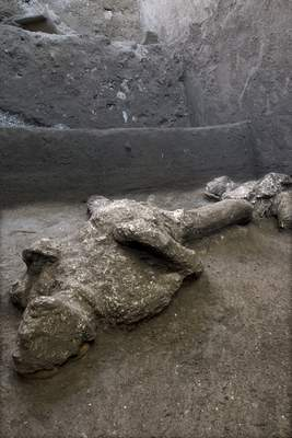 Associated Press  One of two bodies that are believed to have been a rich man and his male slave fleeing the volcanic eruption of Vesuvius nearly 2,000 years ago is pictured after a recent excavation.