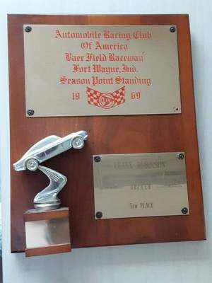 A trophy from the 1969 Baer Field Speedway season is one of many items that were on display at the museum.
