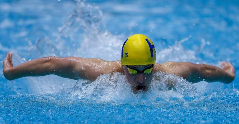 Photos by Jeff Douglas   For The Journal Gazette Homestead's Cameron Luarde competes in the 200 IM at the 2020 IHSAA state swimming and diving meet in Indianapolis. Luarde finished seventh in the event.