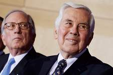 File  Bipartisanship - most notably with Sen. Sam Nunn, a Georgia Democrat, at left - was a hallmark of Sen. Richard Lugar's leadership style. The pair combined to focus on reducing the nuclear threat in the former Soviet Union.