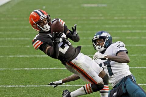 Browns-Ward Injured Football FILE - In this Sunday, Nov. 22, 2020, file photo, Cleveland Browns cornerback Denzel Ward (21) intercepts a pass intended for Philadelphia Eagles wide receiver Alshon Jeffery (17) during an NFL football game in Cleveland. Ward is expected to miss at least a few games with a calf injury sustained in Sunday's win over Philadelphia. Ward, who had an interception and several pass breakups, underwent an MRI on Monday, Nov. 23, 2020. (AP Photo/Kirk Irwin, File) (Kirk Irwin