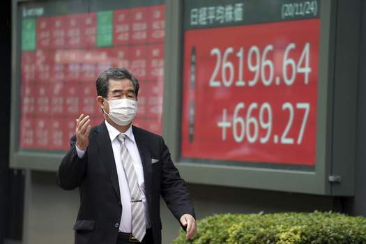Japan Financial Markets A man wearing a protective face mask to help curb the spread of the coronavirus walks past an electronic stock board showing Japan's Nikkei 225 index at a securities firm in Tokyo Tuesday, Nov. 24, 2020. (AP Photo/Eugene Hoshiko) (Eugene Hoshiko STF)