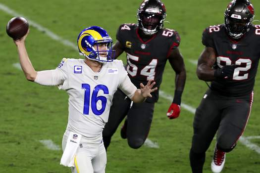 Rams Buccaneers Football Los Angeles Rams quarterback Jared Goff (16) throws a pass as he is pressured by Tampa Bay Buccaneers inside linebacker Lavonte David (54) and defensive end William Gholston (92) during the first half of an NFL football game Monday, Nov. 23, 2020, in Tampa, Fla. (AP Photo/Mark LoMoglio) (Mark LoMoglioFRE)