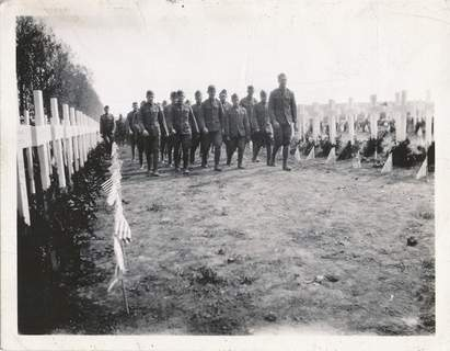 File Veterans take part in a Great War remembrance on Memorial Day 1919 in France.