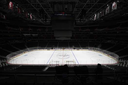 New Season Hurdles Hockey Associated Press photos Capital One Arena, home of the Washington Capitals, stands empty in March after play was temporarily halted due to the pandemic. (Nick WassFRE)
