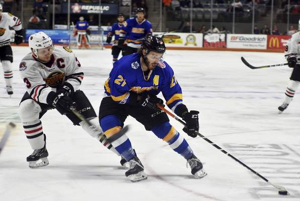 Katie Fyfe   The Journal Gazette  Marco Roy skates for the Komets in 2019. He re-signed over the summer with Fort Wayne, which now is gearing toward a February start to this season.