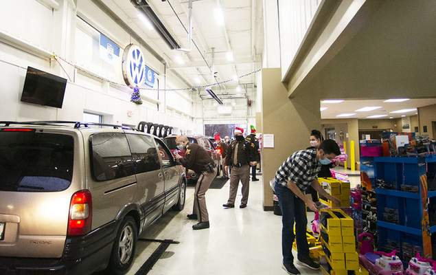 Katie Fyfe   The Journal Gazette Vorderman Volkswagen partners with the First Responders Children's Foundation based in New York to host a toy drive giveaway on Saturday morning.