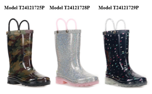 Recalled Western Chief Abstract Camo, Alia Silver and Sweetheart Navy light-up rain boots.