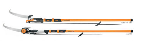 Recalled Fiskars 16-foot chain drive extendable pole saw & pruner and 16-foot power lever extendable pole saw & pruner.