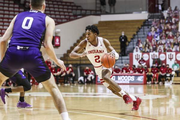 BLOOMINGTON, IN - DECEMBER 13, 2020 - guard Armaan Franklin #2 of the Indiana Hoosiers during the game between the North Alabama Lions and the Indiana Hoosiers at Simon Skjodt Assembly Hall in Bloomington, IN. Photo by Missy Minear/Indiana Athletics