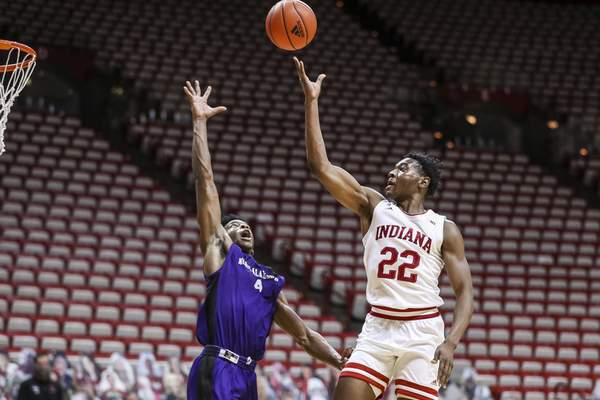 BLOOMINGTON, IN - DECEMBER 13, 2020 - forward Jordan Geronimo #22 of the Indiana Hoosiers during the game between the North Alabama Lions and the Indiana Hoosiers at Simon Skjodt Assembly Hall in Bloomington, IN. Photo by Missy Minear/Indiana Athletics