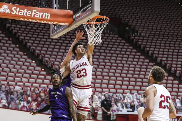 BLOOMINGTON, IN - DECEMBER 13, 2020 - forward Trayce Jackson-Davis #23 of the Indiana Hoosiers during the game between the North Alabama Lions and the Indiana Hoosiers at Simon Skjodt Assembly Hall in Bloomington, IN. Photo by Missy Minear/Indiana Athletics