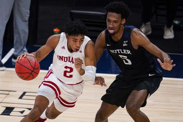 Associated Press Indiana guard Armaan Franklin (2) drives on Butler forward Myles Wilmoth (5) in the first half of an NCAA college basketball game in Indianapolis, Saturday, Dec. 19, 2020. (AP Photo/Michael Conroy)