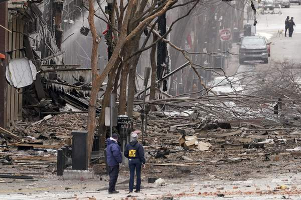Associated Press Emergency personnel work near the scene of an explosion in downtown Nashville, Tenn., on Friday.