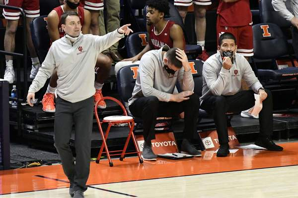 Indiana Head Coach Archie miller gives directions from the sideline against Illinois in the second half of an NCAA college basketball game Saturday, Dec. 26, 2020, in Champaign, Ill. (AP Photo/Holly Hart)