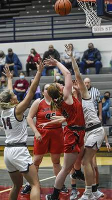 Mike Moore | The Journal Gazette Bluffton senior Natalie Lehrman shoots the ball in the first period against Bellmont at Bellmont High School on Saturday.