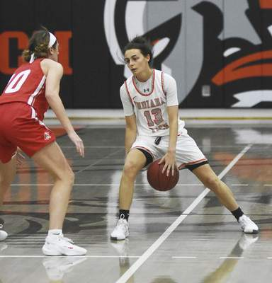 Katie Fyfe   The Journal Gazette  Indiana Tech junior Kyra Whitaker brings the ball down the court during the first quarter against Indiana Wesleyan at the Schaefer Center on Saturday.