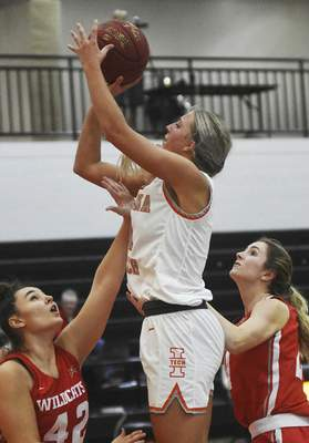 Katie Fyfe   The Journal Gazette  Indiana Tech sophomore Erika Foy takes a shot during the second quarter against Indiana Wesleyan at the Schaefer Center on Saturday.