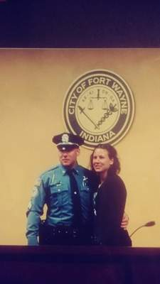 Courtesy  Sgt. Timothy Hughes with his wife, now Sgt. Shannon Hughes, in 2016 when he attained the rank of sergeant.