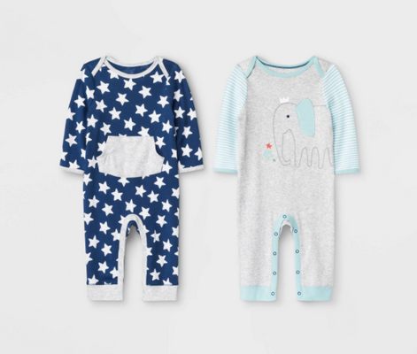 Recalled Cloud Island Little Peanut and True Navy Rompers.