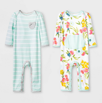 Recalled Cloud Island Floral Fields and Mint Green Rompers.