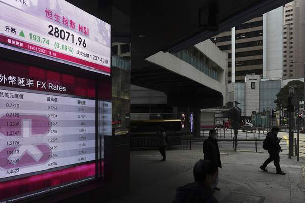 People walk past a bank's electronic board showing the Hong Kong share index in Hong Kong Monday, Jan. 11, 2021. (AP Photo/Vincent Yu)