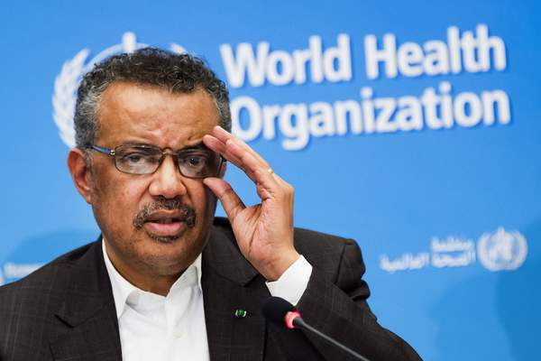 FILE- In this Jan. 30, 2020, file photo, Tedros Adhanom Ghebreyesus, Director General of the World Health Organization (WHO), talks to the media at the World Health Organization headquarters in Geneva, Switzerland. (Jean-Christophe Bott/Keystone via AP, File)