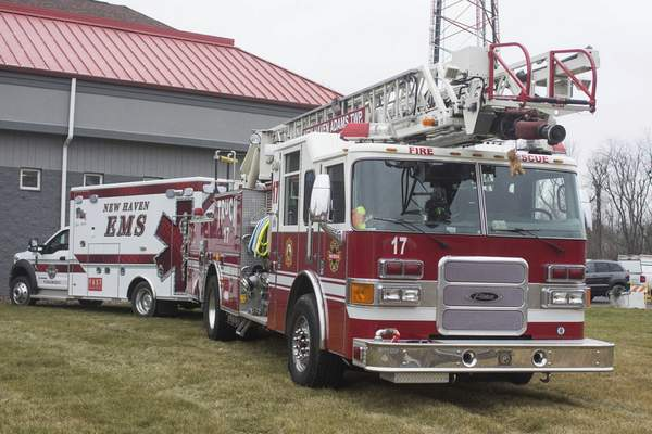 Michelle Davies | The Journal Gazette At the New Haven-Adams Township fire station, emergency vehicles sit where a drive-thru bay and multipurpose room will be added.