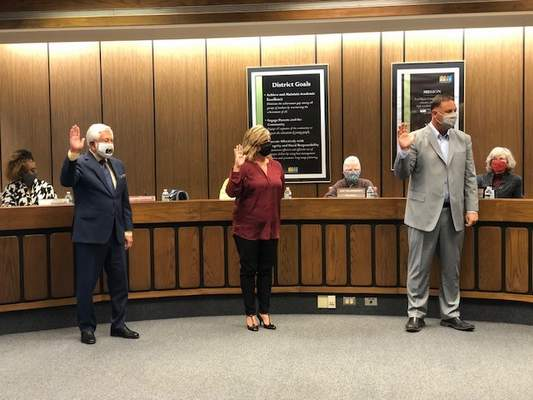 Ashley Sloboda | The Journal Gazette New Board members Jennifer Matthias and Noah Smith and long-time Board member Steve Corona took the oath of office today beginning 4-year terms.