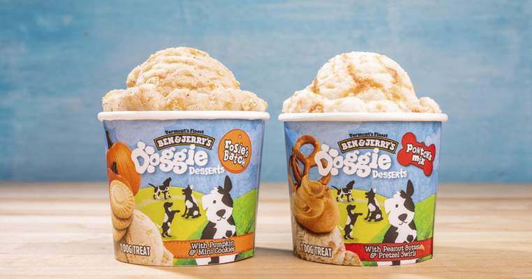 Ben & Jerry's dog treats, sold in 4-ounce cups, will arrive in U.S. groceries and pet stores this month.