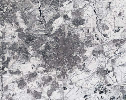 In this photo made available on Tuesday, Jan. 12, 2021, by the European Space Agency, a view of a Copernicus Sentinel-2 image of Madrid, Spain. (European Space Agency via AP)